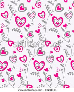 Seamless doodle bright pink and grey hearts brunches on pale grey-pink background pattern by Fears, via ShutterStock