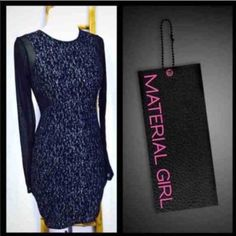 """Stunning Sparkle Bodycon Dress Size small. Body 100% polyester. Mesh sleeves and insets 96% polyester 4% spandex. Zippered back as shown. Garment is new with tags in perfect condition. Retail price $55. 35"""" length from shoulder seam to hem. Lot No. 0575121 Material Girl Dresses Prom"""