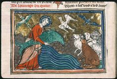 And God created great whales. Paris - Bibl. Sainte-Geneviève - ms. 0020    	f. 005v Sujet  	Création des animaux Auteur  	Petrus Comestor Titre  	Bible historiale