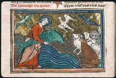 And God created great whales. Paris - Bibl. Sainte-Geneviève - ms. 0020    f. 005v Sujet  Création des animaux Auteur  Petrus Comestor Titre  Bible historiale