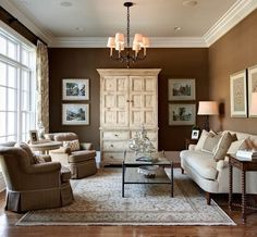 Example of how beautiful white furniture is against dark brown walls. (Carolann's Room) Must also have white bedding and window treatments.