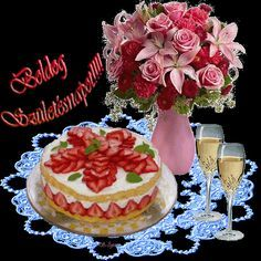 6cem0m3l2w08ohjzq963.gif Happy Birthday Pictures, Happy Birthday Greetings, Happy Birthday Cakes, Birthday Name, Birthday Wishes, Birthday Cards, Name Day, Beautiful Roses, Birthdays