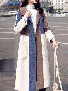 Fold-Over Collar Color Block Long Sleeve Coats Abaya Fashion, Fashion Outfits, Fashion Coat, Fashion Trends, Iranian Women Fashion, Coats For Women, Clothes For Women, Merian, Winter Outfits Women