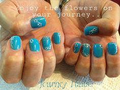 Cool blue Nails with hand-painted flower detail. Nail art by a local lady in Centurion, South Africa.. 071 244 4709 Contact her for an appointment