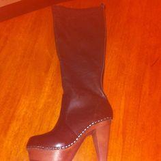 N.Y.L.A SUPER HOT BOOTS! NWOT PRICE REDUCED!! Never worn! Brown wood platform. Genuine Leather upper. Shoes