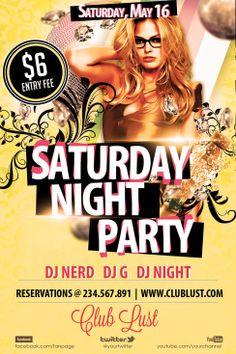 Free Saturday Night Party Flyer Template Free Flyer Club Design http://www.freepsdflyer.com/free-saturday-night-party-flyer-template/