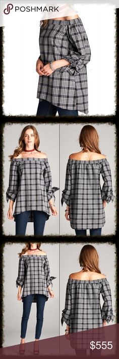 Coming Soon - OFF SHOULDER PLAID TOP Off shoulder top with thin black plaid pattern with tie details on both sleeves. This top is made with a light weight cotton fabric that is not sheer.    * Fabric 98% Cotton, 2% Spandex Tops