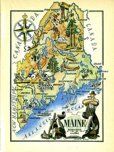 Map over Maine by Jacques Liozu from a 50'ies french book, with interesting natural and cultural features. Nice layout and color!