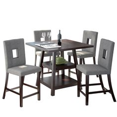 """CorLiving DIP-490-Z1 Bistro 5 Piece Counter Height Dining Set, 36"""", Cappuccino/Pewter Grey"""