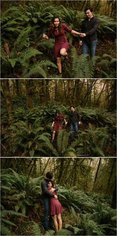 Playing in the ferns at Ecola State Park is always a blast. Taken by elopement photographer Katy Weaver