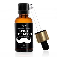 Ryaal Beard Oil & Leave In Conditioner - Spicy Tobaccco | Pure Natural Organic for Groomed Beards, Mustaches, and Moisturized Skin (30ML)