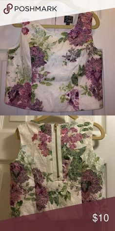 Flash SaleGirls floral crop top This top is new. All over beautiful floral design. Zipper on the back. Pink and Violet Shirts & Tops
