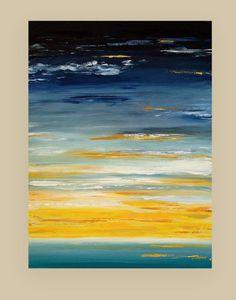Art peinture abstrait Art de toile paysage marin océan