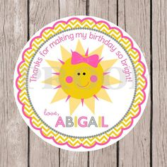 Set of 12 You are My Sunshine Birthday Party Favor by ciaobambino, $6.00