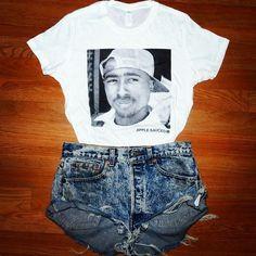 Tupac shirt & denim shorts