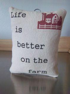 Farm pillow handmade country farmhouse by SweetMeadowDesigns, $18.00