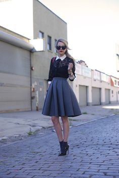 collared shirt snd skirt with socks-and-heels
