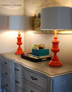 tangerine lamps on silver dresser. cute for the gray dresser in our master