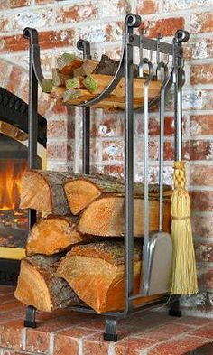 This two-tier log rack is crafted from hot-rolled hammered steel and delivers abundant fireside storage while taking up little more than one square foot of hearth space.