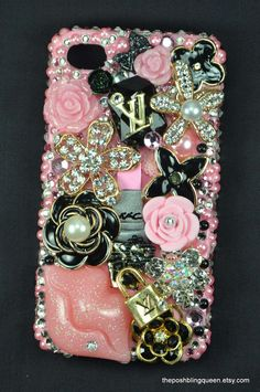 LV Inspired Iphone 4 Bling Decoden Phone by theposhblingqueen, $65.00