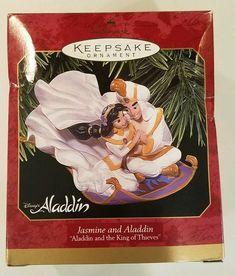 Hallmark Keepsake Disney's Jasmine and Aladdin Christmas Ornament Disney Jasmine, Aladdin And Jasmine, Hallmark Keepsake Ornaments, Christmas Tree Ornaments, Howdy Doody, Jack And Sally, Ariel The Little Mermaid, Before Christmas, Disney Parks