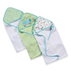 Just Born® 3-Pack Hooded Towels - Green Turtle-buybuy BABY