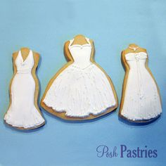 3 White Wedding Dress Cookies