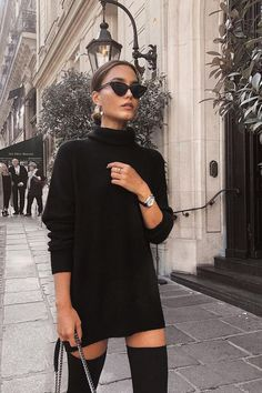 Fall winter fashion black sweater dress sunglasses over the knee boots knee high boots black street style chic inspiration more on fashionchick Mode Outfits, Trendy Outfits, Formal Outfits, Night Outfits, Fall Winter Outfits, Autumn Winter Fashion, Winter Chic, Winter Style, Autumn Look
