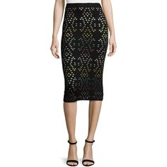 Alice + Olivia Ani Laser-Cut Multicolor Pencil Skirt ($223) ❤ liked on Polyvore featuring skirts, black, women's apparel skirts, below knee pencil skirt, high waisted pencil skirt, high-waisted skirts, alice olivia skirt and high waist skirt