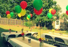 Beatrice Banks: Backyard Party - All For Garden Outdoor Graduation Parties, Graduation Party Decor, Outdoor Parties, Graduation Ideas, Graduation Centerpiece, Outdoor Events, Grad Parties, Graduation Gifts, Jamaican Party