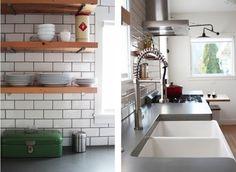 sink (but would want only one bowl), countertop, tile backsplash, a few open shelves, hood