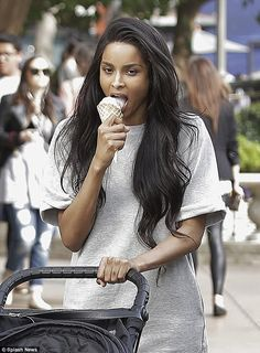 Yummy: The 29-year-old singer proved that moms love a cool and tasty treat from time to ti...