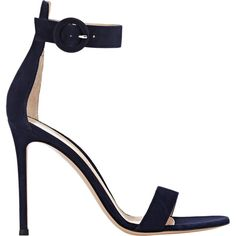 Gianvito Rossi Portofino Ankle-Strap Sandals (10.925.695 IDR) ❤ liked on Polyvore featuring shoes, sandals, heels, colorless, ankle tie sandals, open toe shoes, clear shoes, heeled sandals and blue heel sandals