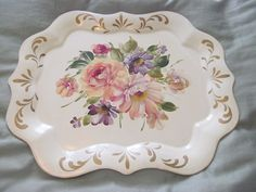 EXC Cond Vintage Hand Painted Tole Tray Cream w Gorgeous Flowers Cottage Chic