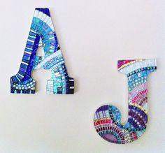 Mosaic Initial Mosaic Letter Sapphire Blue by HamptonMosaics