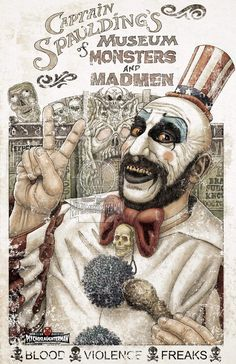 Captain Spaulding Art : House Of 1000 Corpses. Rob Zombie Art, Rob Zombie Film, Zombie Movies, Arte Horror, Horror Art, Clown Horror, Horror Icons, Horror Films, The Devil's Rejects