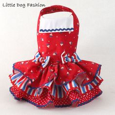 Patriotic Sailor dress for dogs Sail boats on by LittleDogFashion