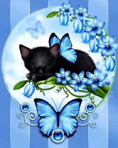 """Butterfly Kittens Bluebells - """"The calm beauty of these beautiful bluebell flowers has lulled this sweet little black kitten to sleep."""" by Melissa Dawn Cute Kittens, Cats And Kittens, Draw Cats, Animal Gato, Image Chat, Cat Drawing, Pretty Cats, Cat Art, Cat Lovers"""