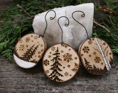 Rustic Wood Burned Tree Ornaments - Set of 3 - Winter Wonderland