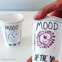 These simple Mood of the Day cups are a great way for kids to express how they're feeling. Fun for adults too! #kindergarten #preschool #office #homeschool