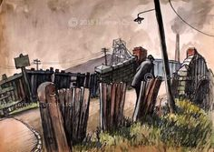 Mining Scenes When I was old enough, my father reluctantly took me to his colliery to try to get me set on. The pit, called the Dean and Chapter Colliery, was nicknamed locally as 'The Butchers Sunderland University, Norman Cornish, Coal Mining, Urban Life, Art For Art Sake, Newcastle, Creative Inspiration, Book Art, My Arts
