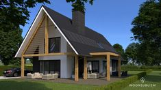schuurwoning houten balken risaliet Home Building Design, Building A House, Style At Home, 30x40 House Plans, Build Your Own House, Cottage Plan, Shed Homes, Small House Design, House Extensions
