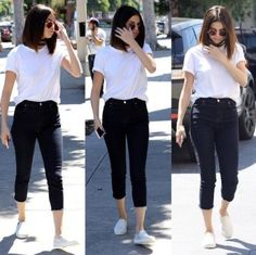 Selena Gomez looked stunning in basic black and white arriving at Gyu-Kaku Japanese BBQ in Los Angeles.
