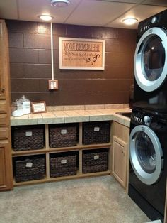 Admirable Design Ideas for Laundry Room Makeover Laundry Room Quotes, Laundry Room Pictures, Laundry Room Layouts, Laundry Room Shelves, Laundry Room Remodel, Laundry Room Bathroom, Small Laundry Rooms, Laundry Room Design, Basement Laundry