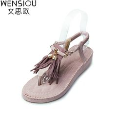 09dad26c1de3 Summer Women Sandals Gladiator tassel sweet flat comfortable Beach Sandal  Flip Flops casual shoes Sandals women