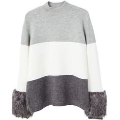 Faux Fur Sleeve Sweater (4.655 RUB) ❤ liked on Polyvore featuring tops, sweaters, chunky cable knit sweater, short-sleeve turtleneck sweaters, cable-knit sweater, white cable sweater and turtle neck sweater