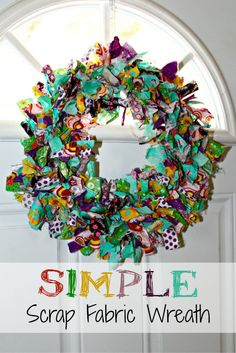 Simple Scrap Fabric Wreath that anyone can make, including my 6 year old who made this one!