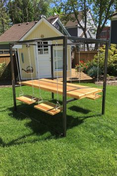 Custom indoor or outdoor table with swing seats. It's like an adult play set. #uniqueseating #outdoorswingset