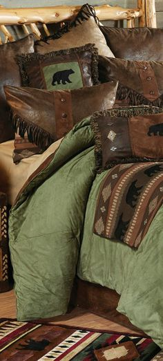 Rustic Bedding Sets for 2020 Western Bedding, Rustic Bedding, Log Cabin Homes, Log Cabins, Black Bear Decor, Home Decor Bedding, Lodge Style, Lodge Decor, Cozy Cabin