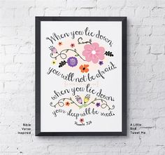Christian Children Print. Floral Illustration. Proverbs 3:24. Typography Artwork.  Digital Print at Home 8.5 x 11